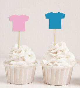 Darling Souvenir| Baby T-Shirt Gender Reveal Cupcake Toppers| Boy-9ps