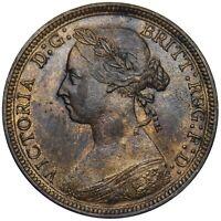 1887 HALFPENNY - VICTORIA BRITISH BRONZE COIN - V NICE