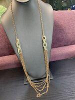 "Long Sweater Necklace Seafoam Green Rhinestone Multi Chain Gold Tone 32""NWT"