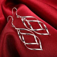 Womens 18K White Gold Plated Twist Spiral Long Drop Dangle Charm Earrings #E27