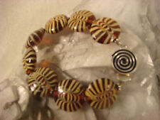 ART GLASS STERLING BRACELET PULLED FEATHER ARTISAN HANDCRAFTED HARD CANDY SWIRL