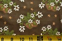 "34"" Long, Flower Baskets on Dark-Brown Fabric, Clothworks/The Quilt Patch, N5159"