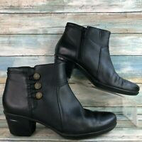 Clarks Collection Black Leather Ankle Boots Booties Block Heel Womens Size 8M