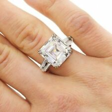 Certified 3.Ct White Asscher Solitaire Diamond Engagement Ring in 14K White Gold