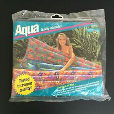VTG 1993 AQUA LEISURE Tropical AIR MATTRESS Inflatable Pool Float Raft 72x27 NOS