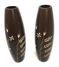 2 x decorative finished brown wood vases 30 cm tall 6cm diameter wedding/ xmas
