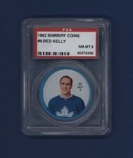 1962-63 Shirriff Coins Red Kelly #9 Graded PSA 8 NM-MT Toronto Maple Leafs