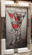 Red Cocktail Glasses On Mirrored Framed Wall Mirror100x60cm home/gift