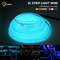 Flat EL Wire Rope Glow Neon Lights +3 Mode Controller for Car Bike Boat Decors