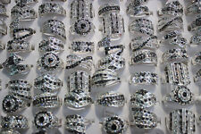 LOT DE 30PCS bague  plaqué argent faux diamant effet clair/noir diamant Rings