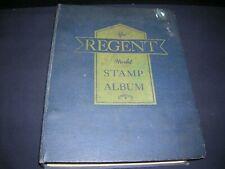 MASSIVE VINTAGE REGENT WORLD STAMP ALBUM PARTIALLY FILLED W/STAMPS, OVER 900 PGS