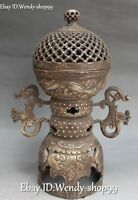 """11"""" Chinese Old Silver Dragon Loong Beast Incense Burner Censer Incensory Statue"""