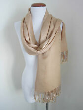 NEW silk blend Solid Beige wide long scarf with fringing hand wash