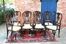 Set of 8 Antique Carved Mahogany Chippendale  Upholstered Dining Chars