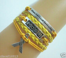 Motto/Hope/Breast Cancer Awareness Ribbon Charms Leather Braided Bracelet-Yellow