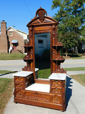 Walnut Victorian Drop Center Dresser with Etegere Top and Large Mirror