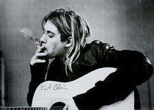 Kurt Cobain Smoking Black White Music Poster With Guitar 36x24 Nirvana