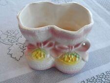 Vintage Baby Girl Pink Booties Ceramic 7923 Japan Gift Planter Nursery Decor