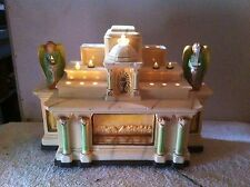 Vintage Chalk statute Religious Last Supper Tv Light Shrine With Angles