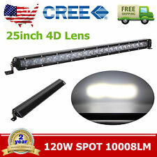120W 25INCH 4D Optical CREE LED Off-road Light Bar Spot Beam UTE Jeep Single Row