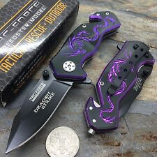 Tac Force Black Aluminum Handle w/ Purple Dragon Small Spring Assisted Knife