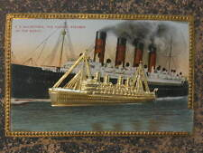 Steamship SS Mauretania Metal Add-On & Border c1910 Scarce Postcard myn