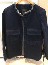 fd0674b5f2f Zara Long Denim Jacket Blazer Dark Blue Size Xs New With Tags