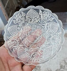 Vintage Beautiful Crystal Clear Rabbit Figure Made Decorative Glass Plate