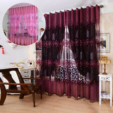 "39""x98"" Panel Floral Sheer Voile Net Window Curtains Drape Room Tulle Scarf Us"