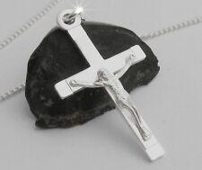 Herren Kreuz Anhänger Jesus Christus Echt Silber Männer Schmuck mit Panzerkette