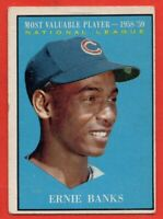 1961 Topps #485 Ernie Banks VG-VGEX+ WRINKLE MVP Chicago Cubs FREE SHIPPING