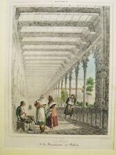 Mallorca.Claustro Franciscanos Palma.Litografia original.Parcerisa 1839-72