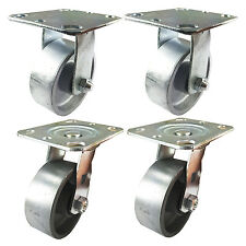 "4"" x 1-1/2""  Steel Wheel Caster - 2 Swivels and 2 Rigids"