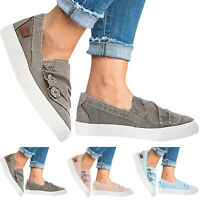 Womens Canvas Slip On Flat Trainers Plimsolls Round Toe Casual Sneaker Shoes New