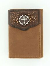 BROWN Leather ~Justin® Tri-fold WALLET~ Double Overlay, Cross Concho 16