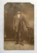 "Antique African American  ""man"" Post Card  Era 1910  W/date On Back  Rare  Rare"