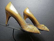 Vintage Women's Bruno Magli Chestnut Leather Open-Toe Clasic Pumps Sz 8.5Aa Mint