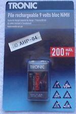 Accumulateur / Pile Rechargeable Tronic 9V~200mAh Ni-MH HR6F22/6HR61.