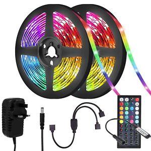 RGB LED STRIP LIGHTS COLOUR CHANGING FLEXBILE TAPE LIGHTING SMD5050 12V UK PLUG