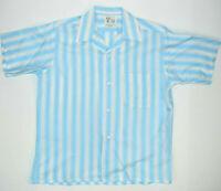 Vintage 60s Rockabilly N N 6 East Blue White Stripe Shirt S/M Loop Collar supurb