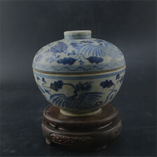 Chinese Old Blue & White Flower And Crane Pattern Porcelain Lid Jar