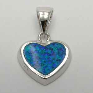 Unique Blue FIRE OPAL Heart Pendant - 925 STERLING SILVER - Rhodium #32