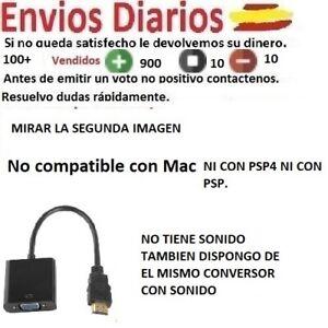 Conversor Cable Adaptador de HDMI Macho a VGA Hembra - HDMI to VGA 1080p negro