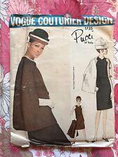 VOGUE COUTURIER DESIGN PUCCI 1735 sewing pattern vintage Dress 1960s Cape