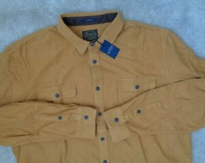 Lucky Brand Mens L Chamois Workwear Button Down Casual Classic Fit Gold Shirt Nw