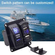 Car Marine Boat 12V 24V On Off 2 Gang Rocker Switch Panel Light Blue 2 USB #3