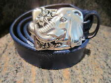 KIESELSTEIN-CORD ELEPHANT BELT BUCKLE AND ROYAL BLUE LIZARD BELT