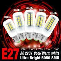 Ultra Bright 5050 SMD LED Corn Bulb Lamp Cool Warm White E27 220V 9 11 12 13 15W