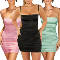 Women Solid Color Ruched Sleeveless Backless Strap Bodycon Mini Beach Dress