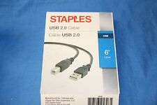 STAPLES 6' USB 2.0 A/B Cable 29749 (for Printers, etc.)